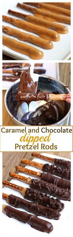 Pretezel Rods dipped in an easy homemade caramel sauce and semi-sweet chocolate! Recipe on MyRecipeMagic.com