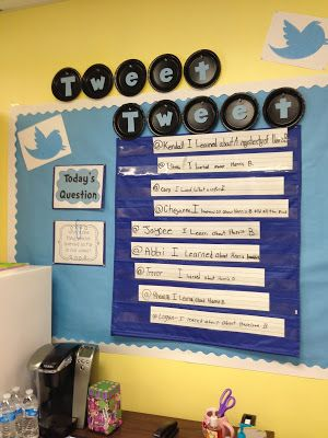"""Twitter bulletin board. Use this to post a daily question, then invite a set number of students to tweet their answer. Use laminated strips of paper so that you can wipe them off each day. Don't forget to teach them to use their """"username"""" @kevin (for example)"""