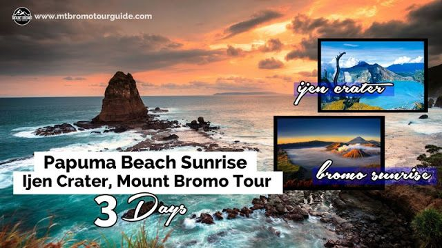 Papuma Beach Sunrise, Ijen Crater, Mount Bromo Tour 3 Days is the tour package special for photography for Sunrise on Papuma Peak, Sulfuric Ijen Crater and Mount Bromo Sunrise from highest peak.