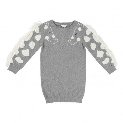 Robe Maille Girafe Franges Gris  Little Marc Jacobs