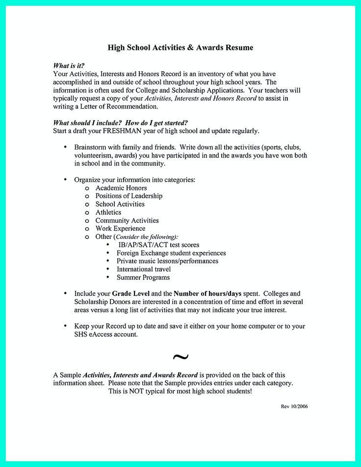 7 best RESUME images on Pinterest High school resume template - high school resume template for college application