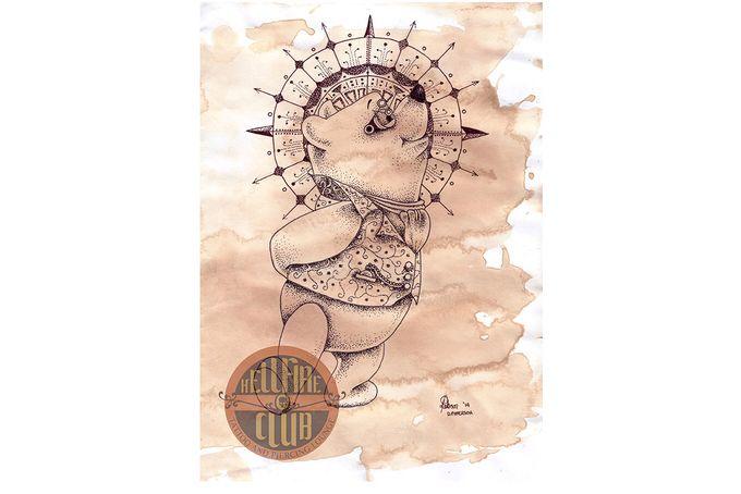 Steampunk Winnie - Pen and ink By Di Paterson (2014), Winnie The Pooh, Steampunk, Tea Stained, Illustration, Dotwork, Drawing, Mandala, The Hellfire Club, The Artful Fox www.facebook.com/Artfulfox1