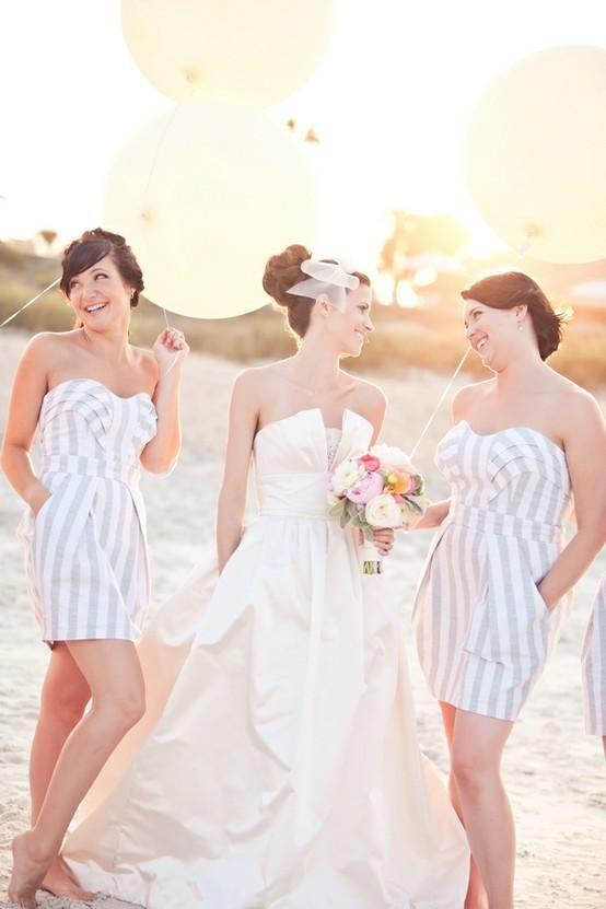 stripes: Wedding Dressses, Idea, Bride Maids, The Bride, Balloon, Bride Dresses, Stripes Bridesmaid Dresses, Cute Bridesmaid Dresses, Beaches Wedding