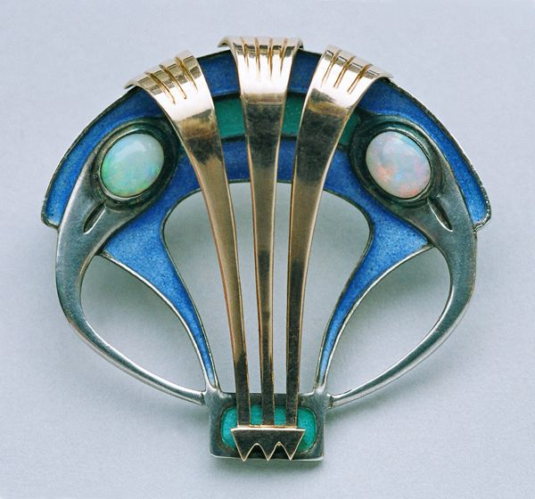 This is not contemporary - image from a gallery of vintage and/or antique objects. MAX JOSEPH GRADL 1873-1934 for THEODOR FAHRNER Jugendstil Brooch Silver Gold Enamel Opal