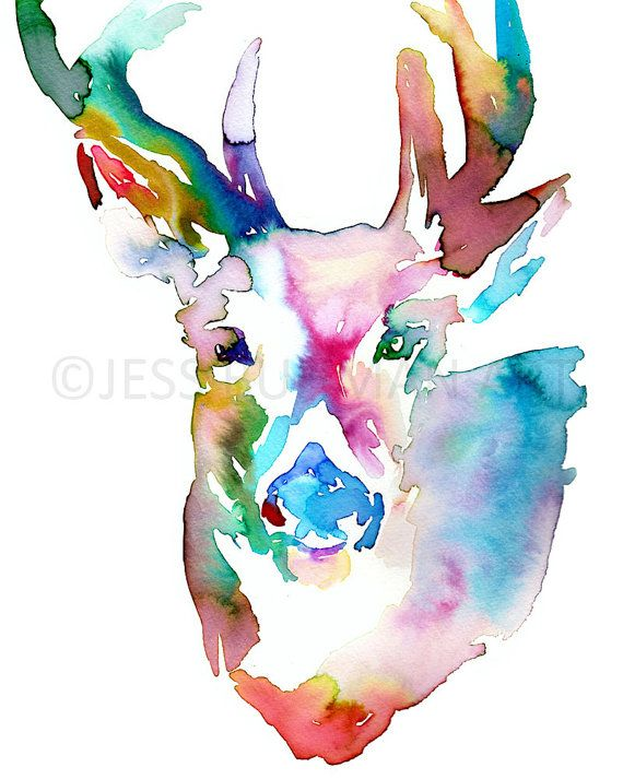 Duncan the Deer by Jessica Buhman 8 x 10 print of an original watercolor painting on a heavy, bright white card stock. Will be shipped quickly
