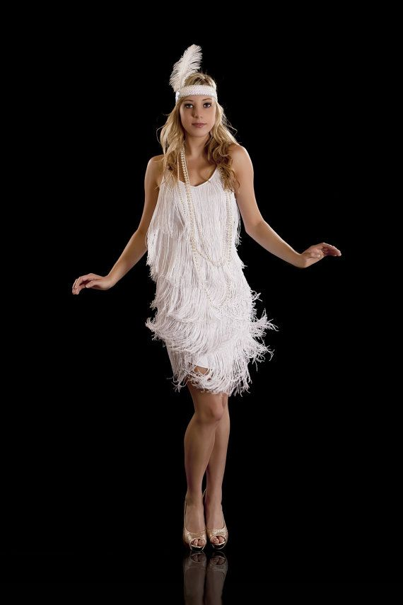 Beautiful Fringe Flapper 1920's Charleston Dress. White S, M, L, XL available