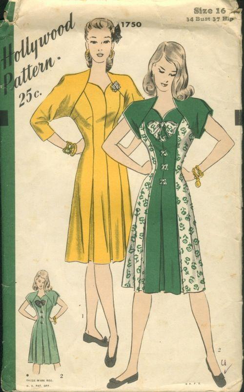 vintage patterns wiki | Hollywood 1750 - Vintage Sewing Patterns
