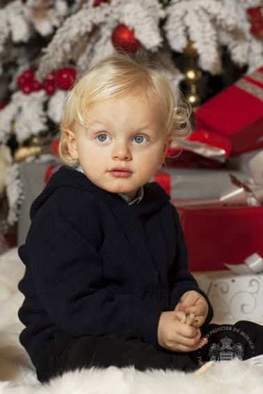 The cherubic Prince Jacques of Monaco in his black woolly jumper and trousers during the Christmas card photo shoot.
