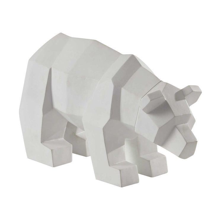 Statuette ours en résine blanche L 36 cm WHITE