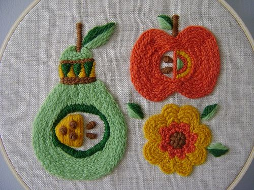 Embroidery Embroidery, Fruit Crewel, Fruit Front, Crewel Embroidery, Embroidery Fruit, Fruit Embroidery, Kitchsi Fruit, Crafts, Allspiceabound
