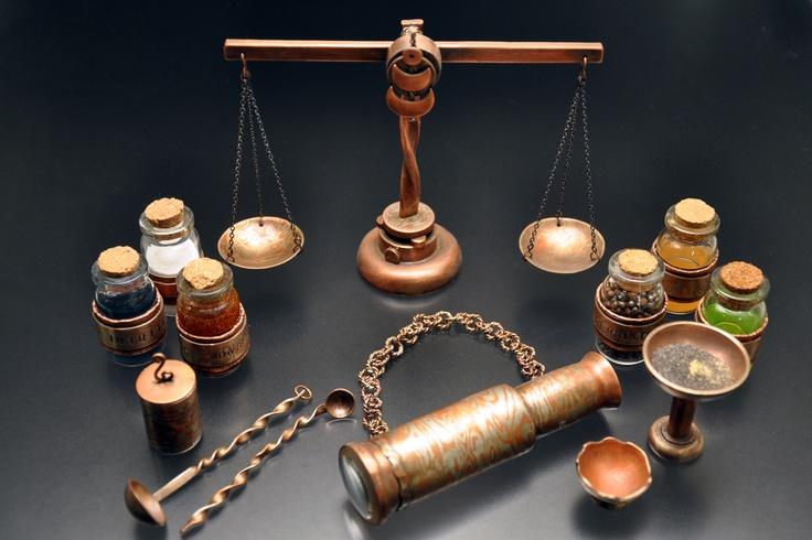 Alchemy Set:  mokume gane, copper, brass, blown glass, found objects