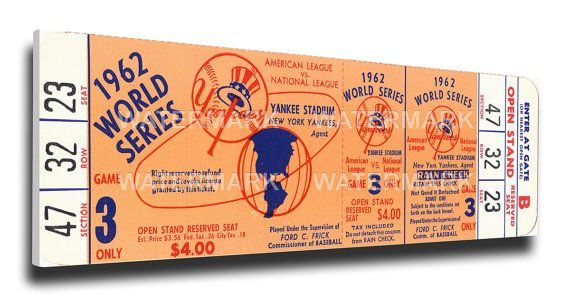 1962 World Series Game 3 Canvas Mega Ticket - New York Yankees
