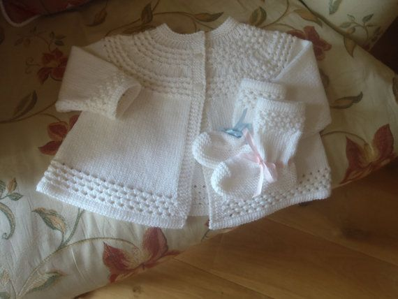 Sublime Cashmere Merino Silk Heirloom Quality Hand Knit Vintage Style Baby Matinee Jacket / Sweater and Bootees 3 - 8 months