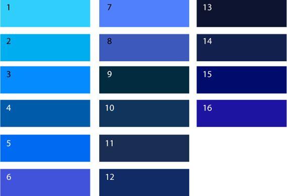 Холодные оттенки синего. Холодным синим цветом являются следующие оттенки: (1) лазурный, (2) циан, (3) цвет электрик, (4) синий Роял, (5) ярко-синий цвет, (6) сине-фиолетовый цвет, (7) васильковый, (8) королевский синий, (9) грозовой цвет, (10) черничный, (11) темно-синий, (12) сапфировый, (13) сине-черный, (14) кобальт, (15) индиго, (16) ультрамарин