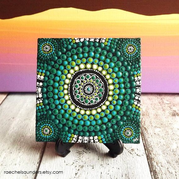 Forest art dot painting aboriginal art small original for Small canvas boards