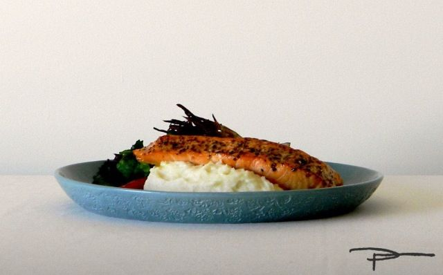 Crispy skinned Salmon and Irish mash on a Manly plate.