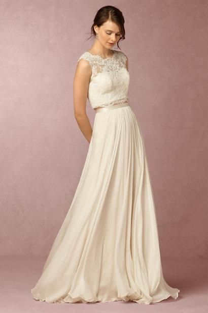 2016 Spring Two Piece Bhldh Wedding Dresses With Jewel Collar Sleeveless Lace Wedding Gowns Sweep Train Custom Made Designer Gown Discount Bridal Gowns From Liuliu8899, $222.52| Dhgate.Com