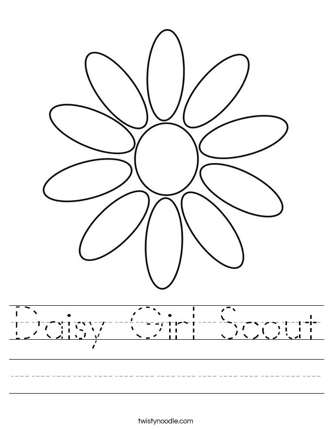 daisy girl scout coloring pages | Daisy Girl Scout writing Worksheet