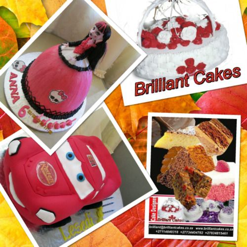 FOR WEDDING AND BIRTHDAY CAKES...call Brilliant or Bekie 0114840318 whatsapp 0834815461 email brilliant@brilliantcakes.co.za www.brilliantcakes.co.za 0734404782 We do The following Cakes Freshly baked cakes For birthdays;Sponge vanilla, chocolate, marble, Carrot,icecream & rich fruitcakes. Vegan, Gluten free, Eggless & diabetic cakes. * also edible image cakes , shaped, 3D cakes and Wedding Cakes. * Clients can request any theme, Design & Flavour. We supply Edible Image prints to Bakers…