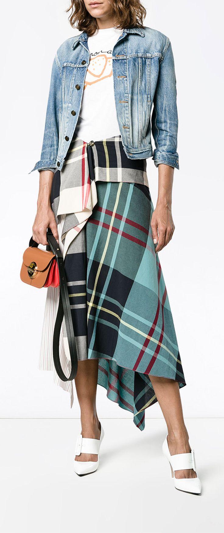 J.W.ANDERSON Tartan Asymmetric High Waisted Skirt, explore new season J.W.Anderson on Farfetch now.