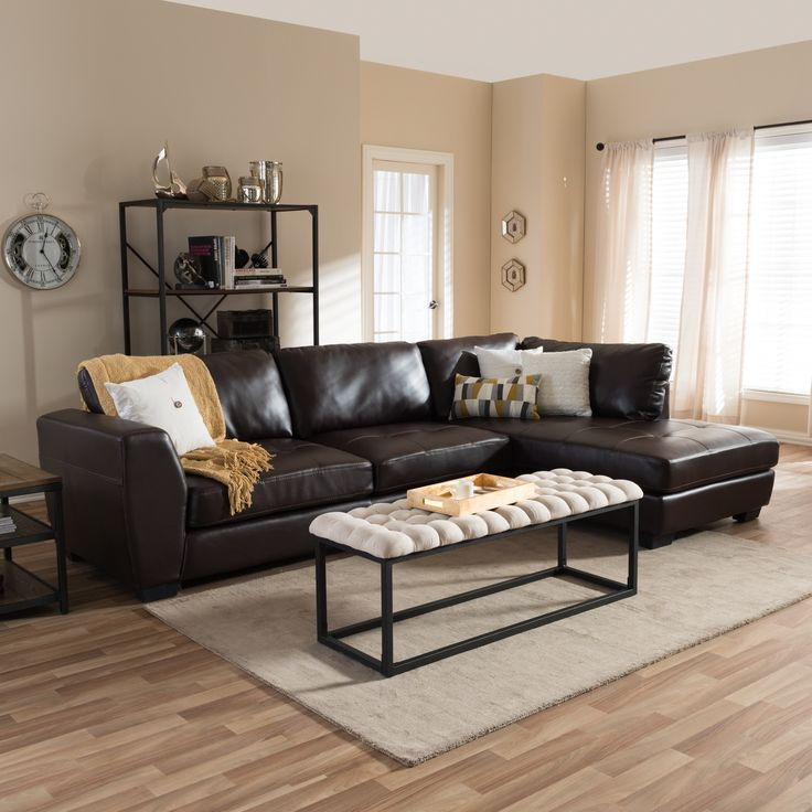 Baxton Studio Orland Brown Bonded Leather Modern Sectional Sofa Set With  Right Facing Chaise Part 20