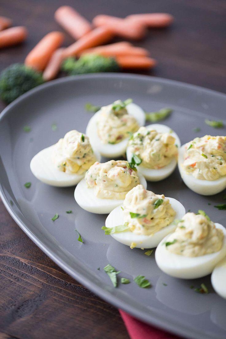 Simple Deviled Eggs with Garden Vegetables - LemonsforLulu.com