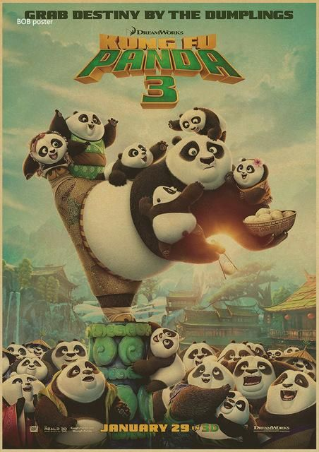 Nostalgic Kung Fu Panda USA Classic Movie Vintage Poster Wall Sticker Retro old Paper Posters Antique Home Decoration