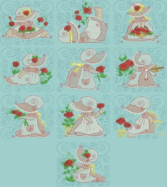 BES442 - Sunbonnet Mylar Quilt Blocks1 Super quick & easy to stitch out!  No more messy and fussy glitter glues.  Add instant sparkle with these mylar Quilt Blocks. http://tinyurl.com/jh2flbw