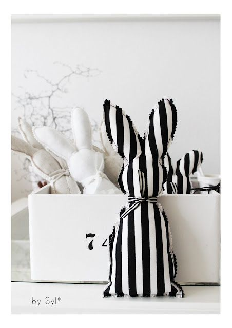 Mix it up with this year's Easter Baskets....make some Black and white Easter bunnies. This blog is so cute only wish I could read all of what it says!