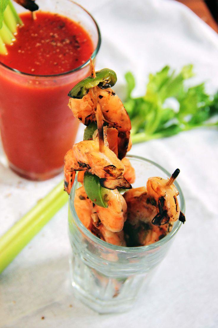 Oregano Infused Bloody Mary & Lemon Pepper Grilled Shrimp