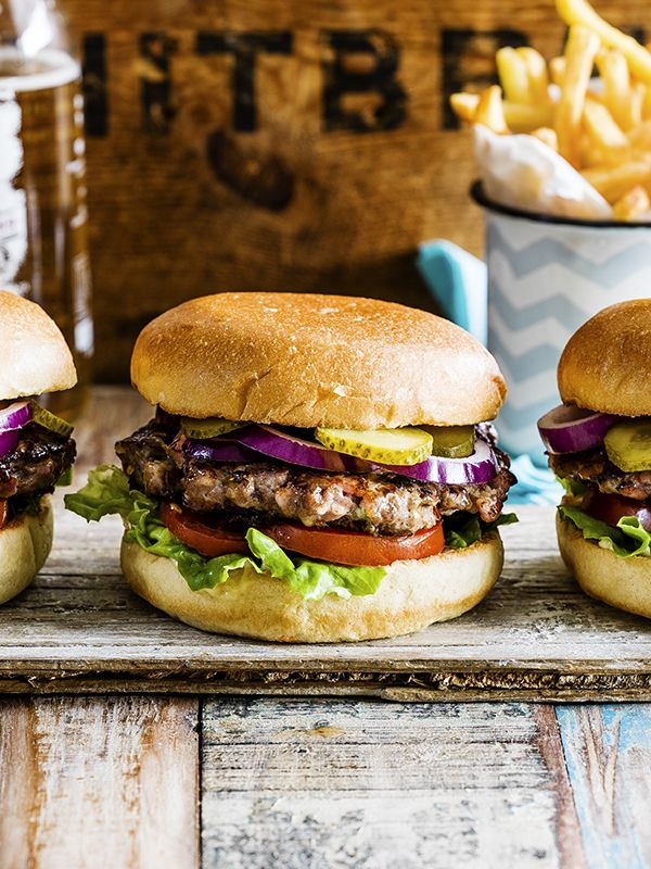 Bacon and blue cheese-stuffed burger
