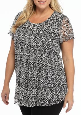Kim Rogers Women's Plus Size Chevron Print Top - True Black Combo 36 - 2X