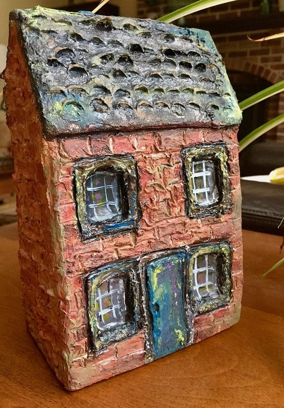 Miniature Paper Mache House: Brick House with by GiveEmPropsStudio