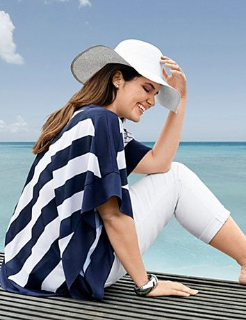 Breezy blouse gets a dose of drama from an energetic mix of nautical stripes and fluttering sides. Short sleeves and a flattering V-neck. <br /> <br />Make your getaway with the Escape Collection, resort wear made for your jet-setting lifestyle. Pack your bag with these travel-friendly, easy-wearing pieces you will love at home or away.<br /> lanebryant.com