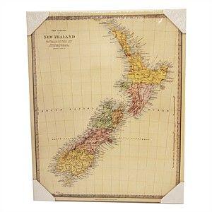 Plaque NZ Map Vintage Canvas 50x40cm