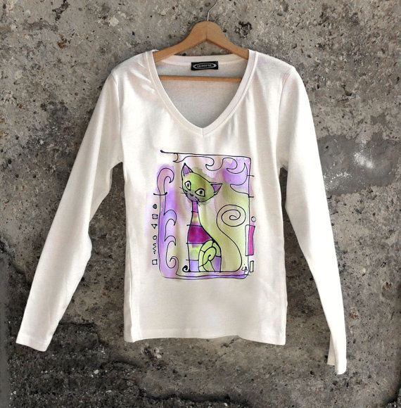 Hand painted blouse The Green cat. Unique art blouse with funny cat design. Long sleeve autumn t shirt. Teenage girl gift.