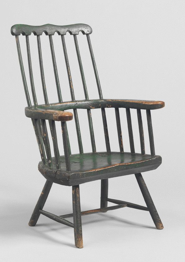 Comb back Windsor armchair,  painted ash & elm, English, circa 1760