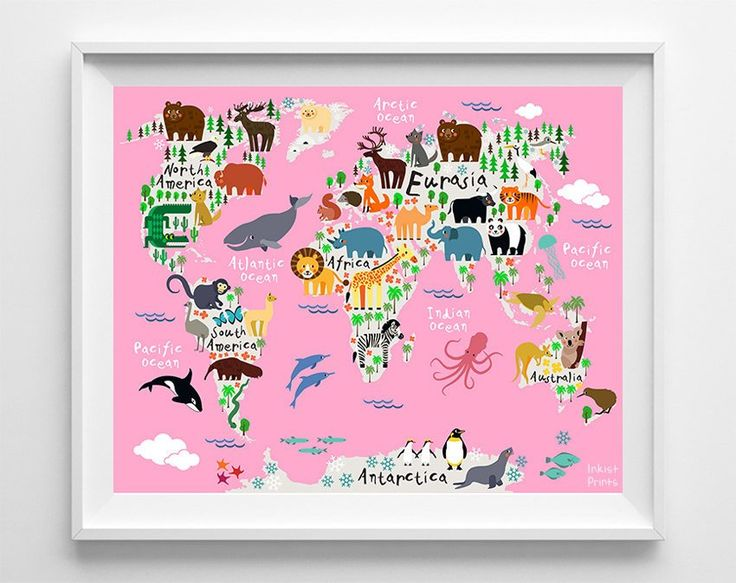 8 best animal world map prints images on pinterest animal nursery animal world map pink background print gumiabroncs Choice Image