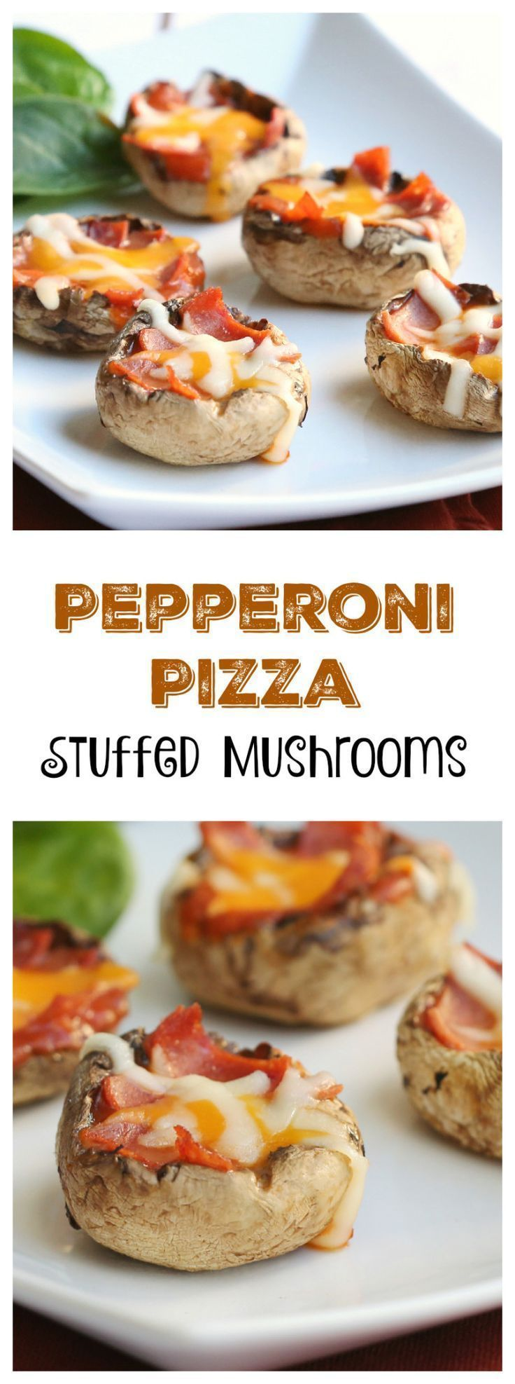 Easy hot appetizer recipe - Pepperoni Pizza Stuffed Mushrooms - requires few ingredients, is simple to make, and tastes great!
