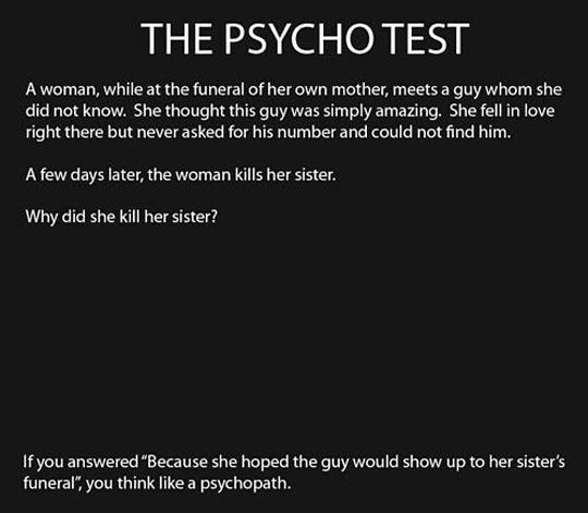 The reliable psycho test…thankfully, I passed.