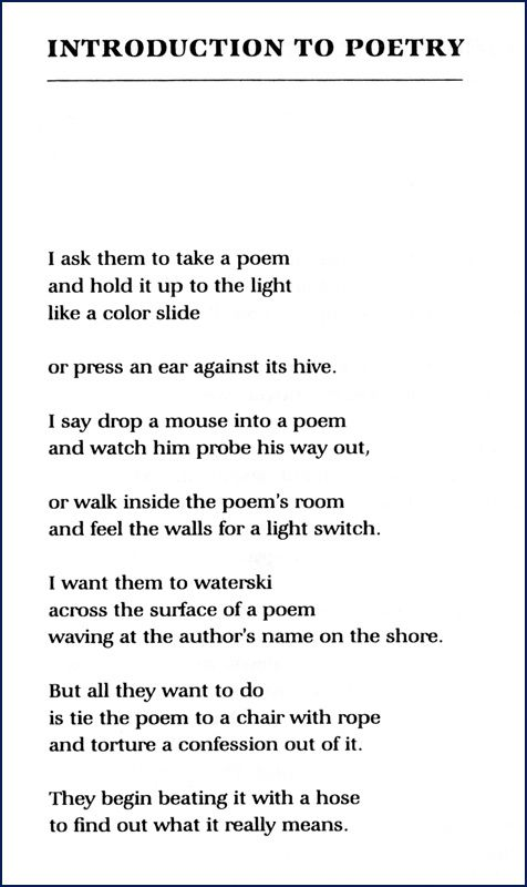 """""""Introduction to Poetry"""" by Billy Collins"""