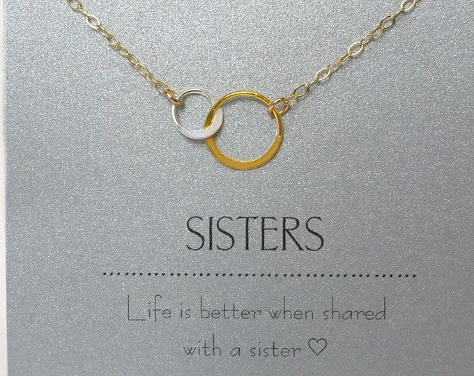 Sister Necklace, Sister Jewelry Gift, Sister in Law Jewelry Gift, Interlocking Circle Necklace Gold, Personalized Sister Gift With Note Card