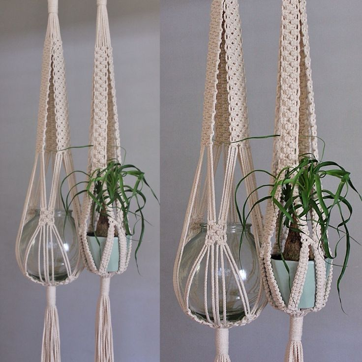 'Love Tie' intricately knotted macramé plant hangers