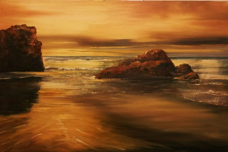 Sea at Sunset.  85 x 58cm.  Oil on board