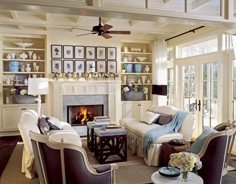 Pretty living room, love the blue!House Tours, Living Rooms, Decor Ideas, Country Living Room, Fireplaces, Livingroom, Room Ideas, Chocolates Brown, Colors Schemes
