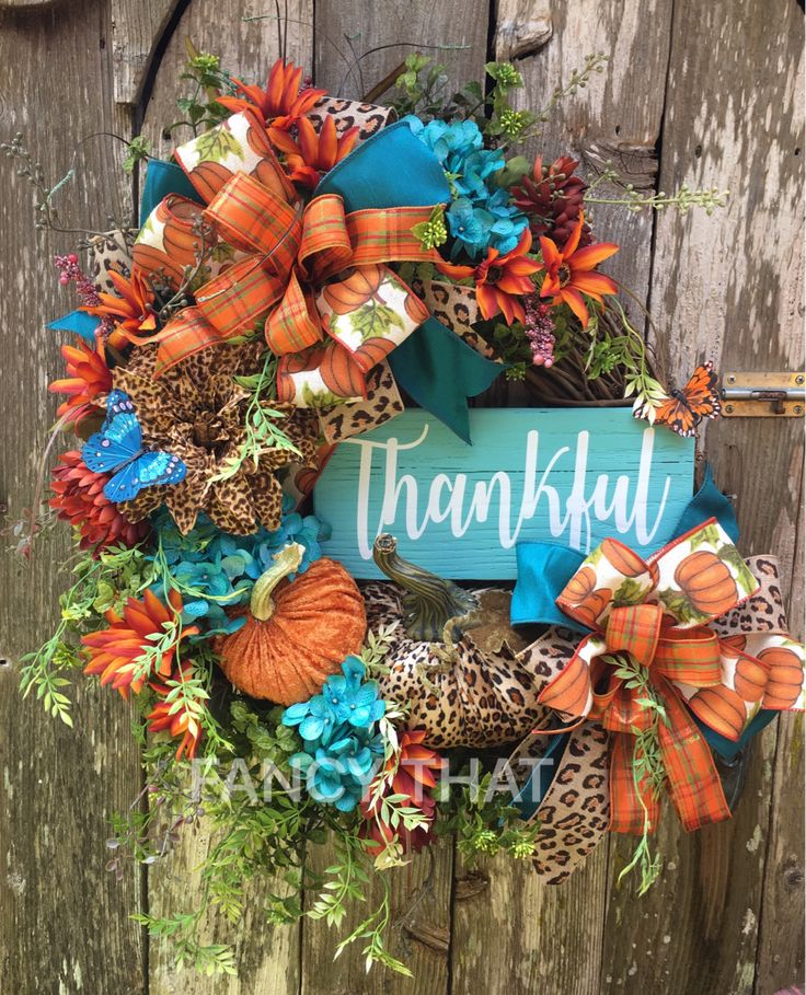 Thankful Fall Grapevine wreath,Thanksgiving grapevine wreath,thankful wreath,autumn grapevine wreath,animal print fall wreath,teal,orange by FancyThatDecor on Etsy https://www.etsy.com/listing/531775480/thankful-fall-grapevine