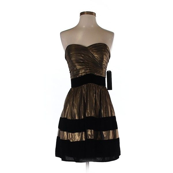 Miss Sixty Cocktail Dress ($30) ❤ liked on Polyvore featuring dresses, gold, brown cocktail dress, miss sixty, brown dress and miss sixty dresses