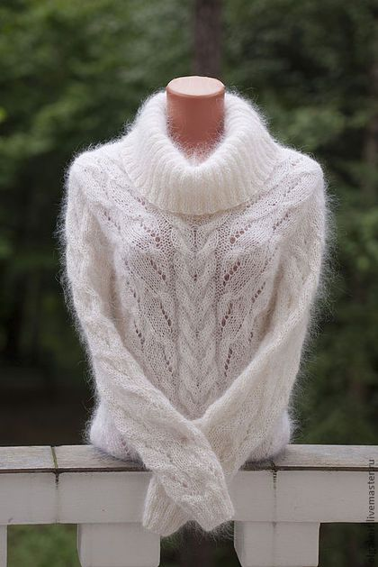 Gorgeous hand knit white wool sweater. Stylish, warm and fluffy handmade sweater. olgaknit.etsy.com or olgaknit.livemaster.ru