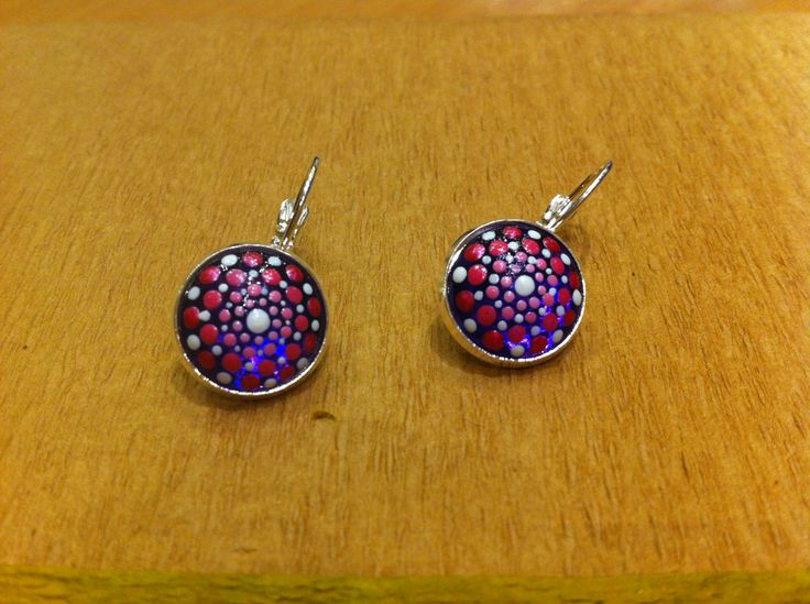 Purple and pink dotillism art dangles, dot painted earrings, handmade small round earrings by DandelyonDesign on Etsy