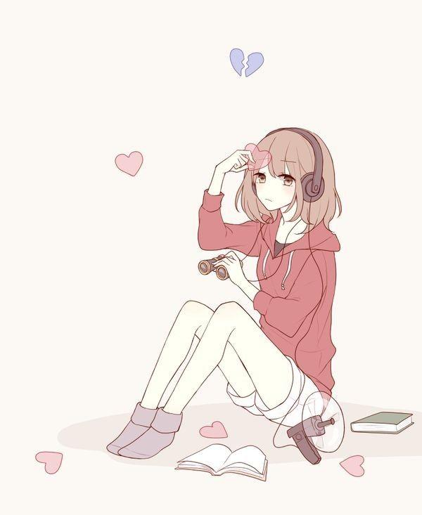 #anime #art #cute #girl #love #sad